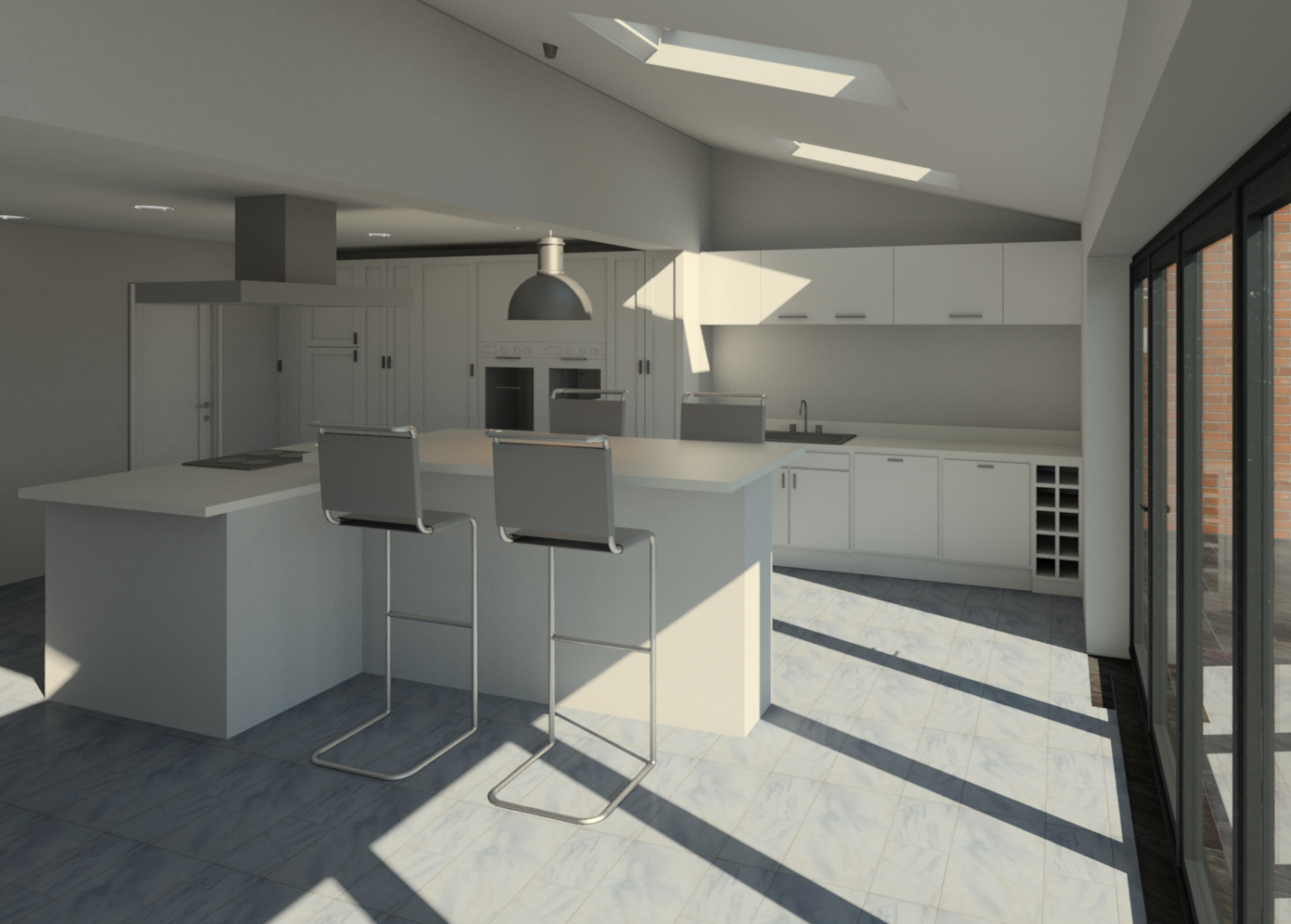 Internal, rear extension, kitchen, Gosforth