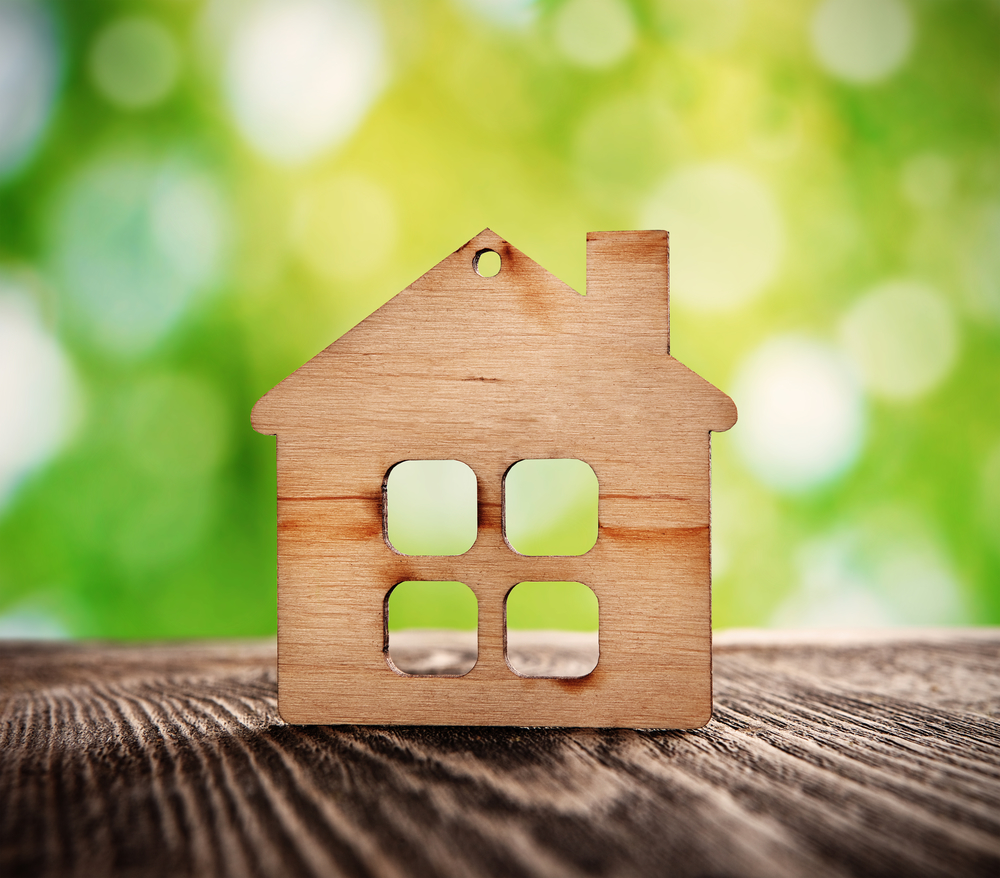 wooden house symbol on nature background
