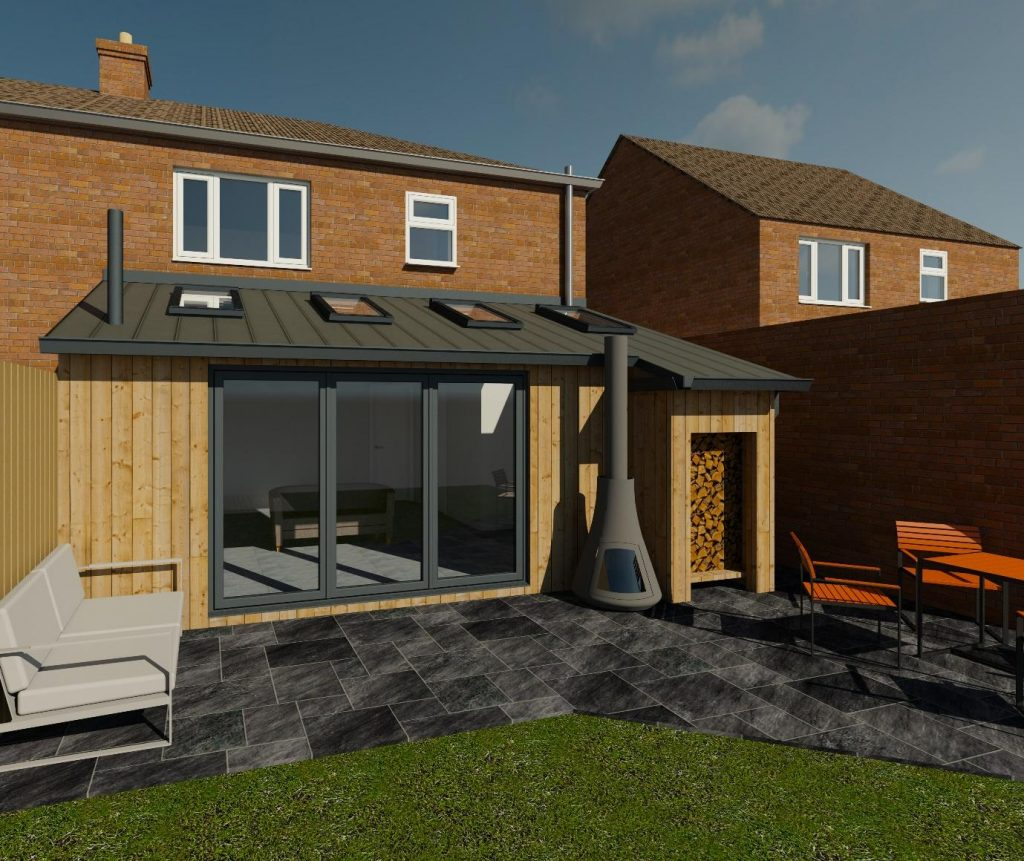 rear extension timber clad bifold doors Acre Design Newcastle architect