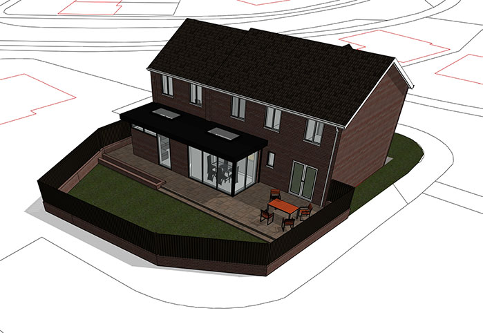 3D render extension home Acre Design Architect Newcastle planning permission building control