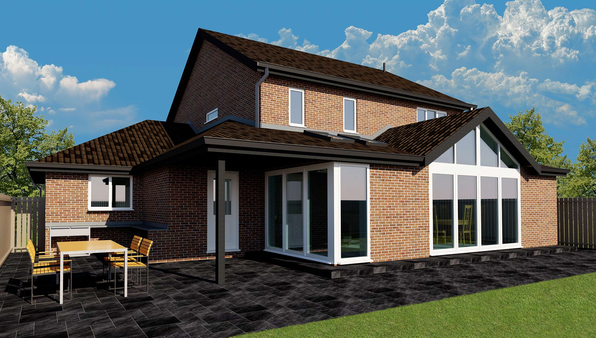 Gosforth Extension bifold doors large window kitchen diner Acre Design Newcastle