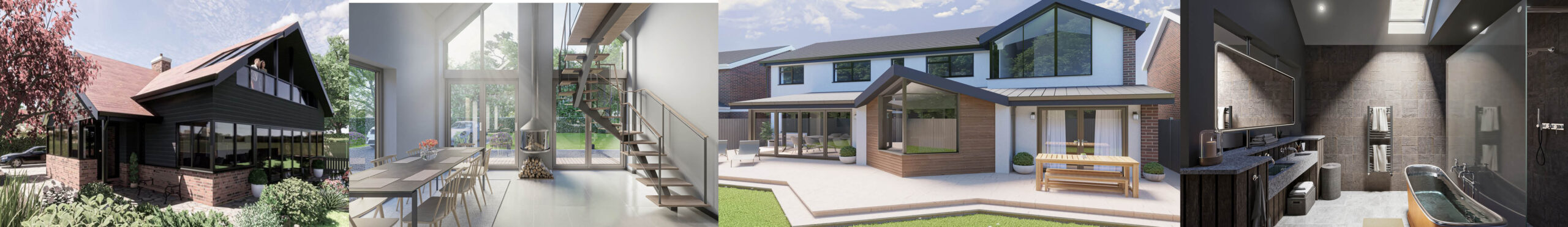 Image shows four of Acre Design's projects in the North East, our designs for home extensions are pictured